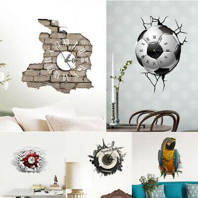 Modern DIY Analog 3D Large Number Wall Clock Sticker Home Room Decor 5 Styles