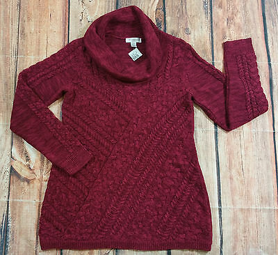 Motherhood Maternity Sweater Women Size Large Cowl Neck Burgundy NEW