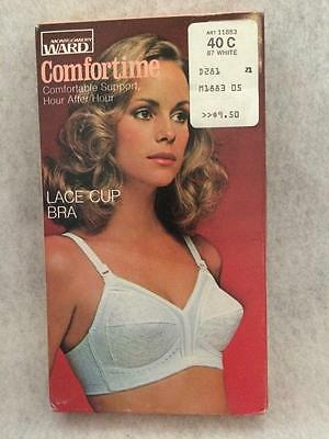 Vintage Montgomery Ward-NEW in Box-Lace Cup Bra-Comfortime-40C-White