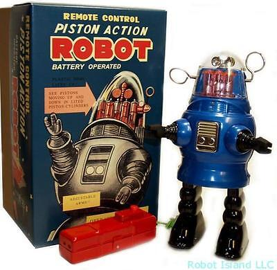Piston Action Robby the Robot Tin Toy Battery Operated Blue