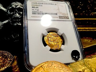 Colombia 1665 Partially Dated! 2 Escudos Ngc 64 Gold Cob Treasure Doubloon Coin