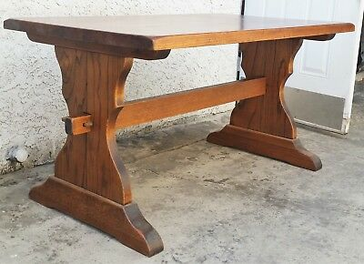 Solid Oak Thick Wood Trestle Dining Kitchen Library Console Rustic Table in LA