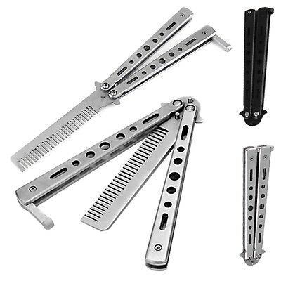Butterfly Comb Beard Folding Practice Stainless Steel Black Silver UK