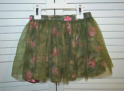Cute Healthtex olive floral skirt with tulle over-layer - size 3T