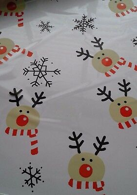 Reindeer With Red Scarf Florist Christmas Cellophane Gift Wrap, Hampers,baskets