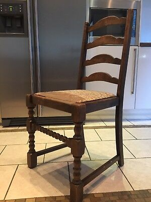 Eng Oak Ladderback Chair twist Kitchen Dining Chair Farmhouse Vintage industrial