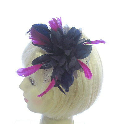 Navy Blue fascinator comb with hot pink feathers for special events, wedding