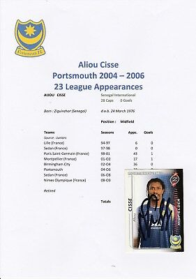 Aliou Cisse Portsmouth 2004-2006 Original Hand Signed Shoot Out Card