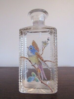 Antique French Cut Crystal Coralene Glass Decanter Perfume Bottle Bird Flowers