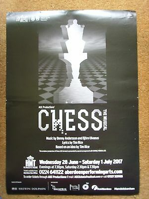 Chess musical Abba Bjorn Ulvaeus & Benny Andersson 2017 Aberdeen A3 poster