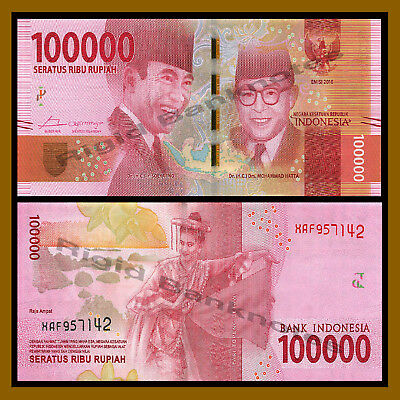 Indonesia 100000 (100,000) Rupiah, 2016 P-New Replacement Unc