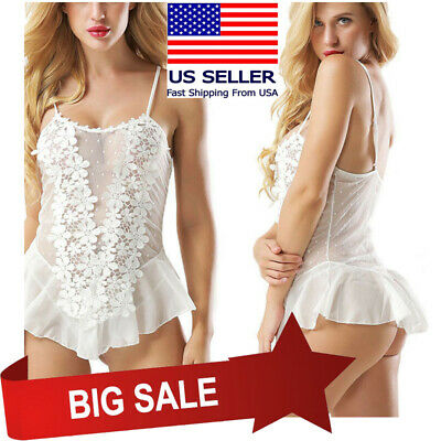 White Floral Lace Babydoll Teddy Tank Top Ruffled Skirt Boudoir Lingerie M-5XL
