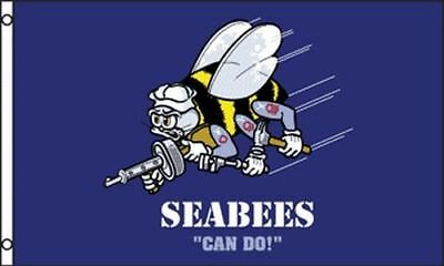 3x5 ft SEABEES CAN DO Flag US Navy Veteran Battalion Polyester bf