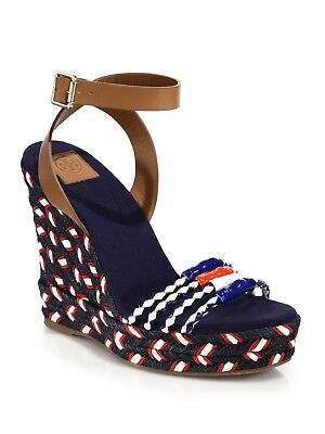 a6b31f6fde93e norway tory burch blue leather braided espadrille wedge sandals 4380 size  8.5 m 8c31a 63c71