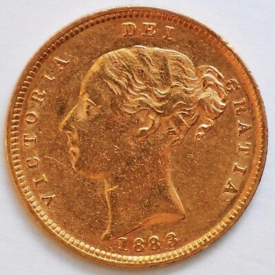 1883 Queen Victoria Young Head Gold Shield Half Sovereign - (S.3861)