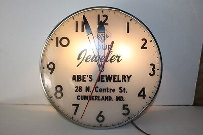 """Vintage Lighted 15"""" Jeweler Wall Clock Abe's Jewelers Cumberland Md. Works!! 106"""