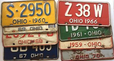 Craft Ohio Old License Plates Lot of 8 Car Tags Man Cave 60s 70s Projects Rusty