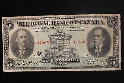 "1913 Canada. ($5) Five Dollars. ""The Royal Bank of Canada"". (#2)"