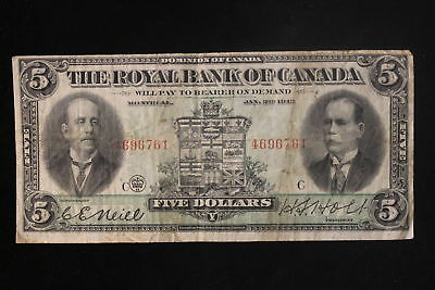 "1913 Canada. ($5) Five Dollars. ""The Royal Bank of Canada"". (#1)"