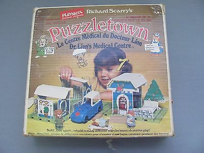Playskool Richard Scarry Puzzletown w/ Box Figures Car Dr. Lion's Medical Centre