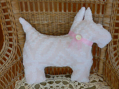 Vintage chenille bedspread Westie Scottie Dog wedding ring pink