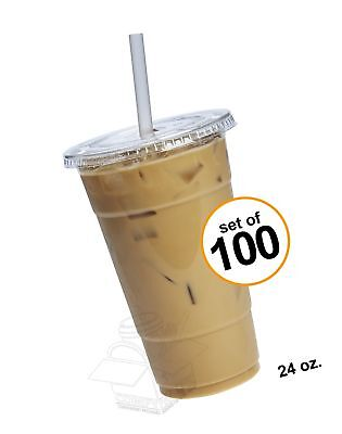 COMFY PACKAGE 100 Sets 24 oz. Plastic CRYSTAL CLEAR Cups with Flat Lids for C...