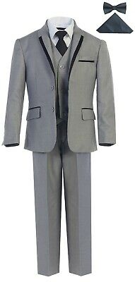 Formal Boys Tuxedo Suit 5 Piece Set Toddler Children Kids Slim Fit Light Grey