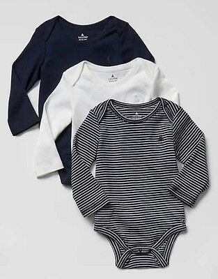 Baby Gap Boy Favorite Stripe Bodysuit 3 Pack Long Sleeve Blue White 0-3 Months