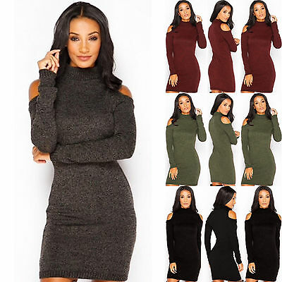 Women Cowl Neck Cold Shoulder Knitted Bodycon Long Sleeve Sweater Jumper Dress