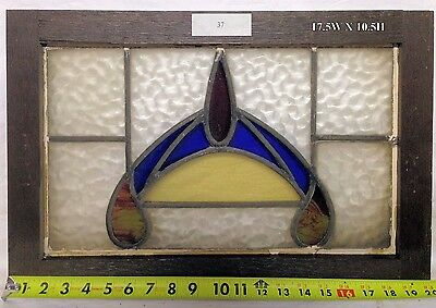 "Antique Victorian Stained Glass Window.  17.5"" w x 10.5"" h"