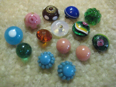 Sweet Lot Antique/ Victorian Diminutive Glass Charmstring Buttons