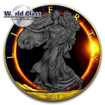 2017  1 oz Silver Eagle Total Eclipse of the sun Solar Ruthenium coin