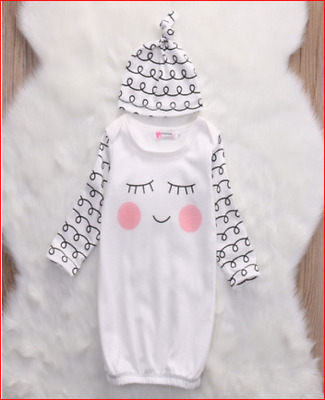 Newborn Baby Sleeper gown w/ hat outfit 0 - 3 month darling infant shower gift