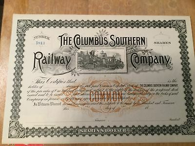 Unissued 188X Columbus Southern Railway Company Stock Certificate