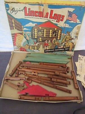 Vintage Original Lincoln Logs Box Set from 1940's Replacement Pieces