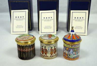 3 Halcyon Days Enamel Boxes 1995 Tower of London Flying Horses Carousel w/Boxes
