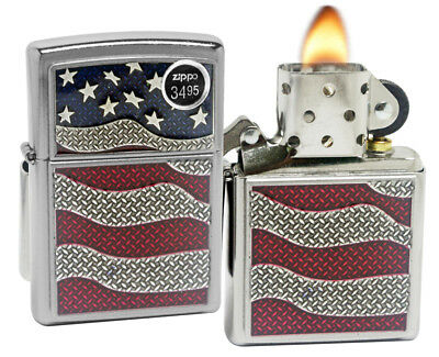 Zippo 29513 United States American Flag Emblem Street Chrome Finish Lighter New