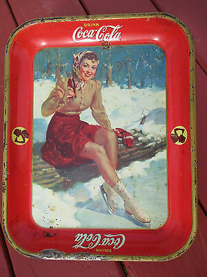 Original 1941 Drink Coca Cola Tray Ice Skater Girl by The American Art Works