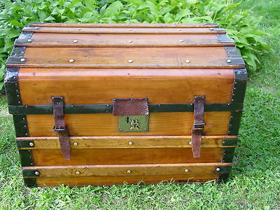 Refinished ANTIQUE STEAMER TRUNK Civil War Wood Slat Leather CHEST Lithograph
