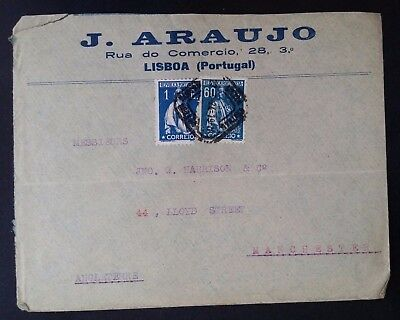 SCARCE 1924 Portugal J Araujo Cover ties 2 x Ceres stamps canc Lisbon