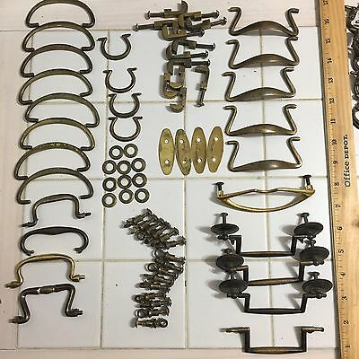 Antique Vintage Drawer Pulls Colonial Brass & Metal handles mixed part lot