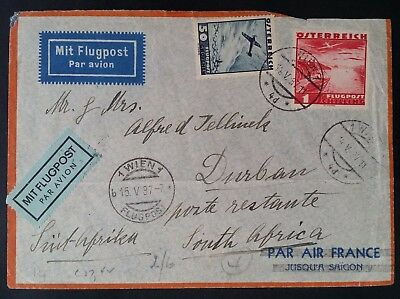 SCARCE 1937 Austria Airmail Cover ties 2 Airmail stamps cnc Vienna to Sth Africa