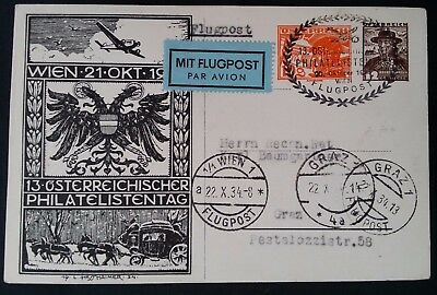 SCARCE 1934 Austria Philatelic Day Postcard ties 2 stamps with Airmail cache