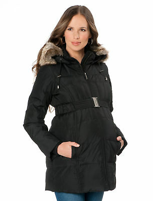 Pea in the Pod Black Maternity Jacket Black Down Winter Coat - Black Puffer - Lg