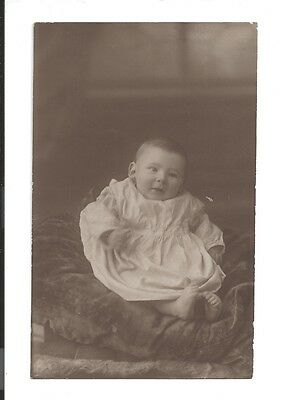 baby in gown real vintage photo postcard c1910