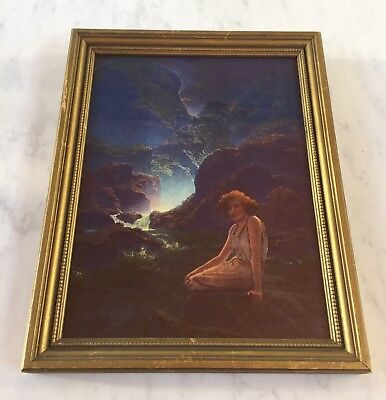 Vintage Maxfield Parrish ' Moonlight ' print , old frame