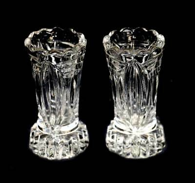 Vintage pair of art deco pressed glass small bud vases in lovely condition