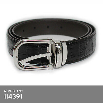 Montblanc Classic Line Black Chrome-Tanned Leather Men's Belt 114391 Europe Made