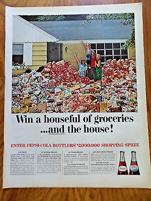 1965 Pepsi Cola Soda Pop Ad Win a Houseful of Groceries & the House