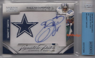 2009 National Treasures Signature Patch Auto:emmitt Smith #8/22 Autograph Bgs 10